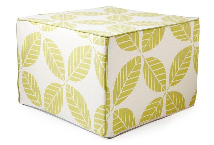 Tiki Leaves Pouf, Chartreuse/White
