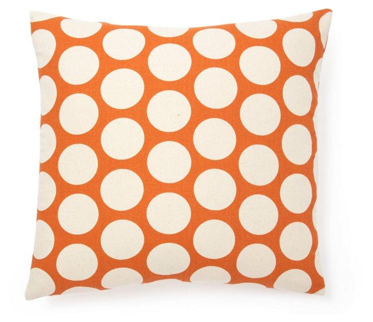 Polka Dot 20x20 Cotton Pillow, Orange