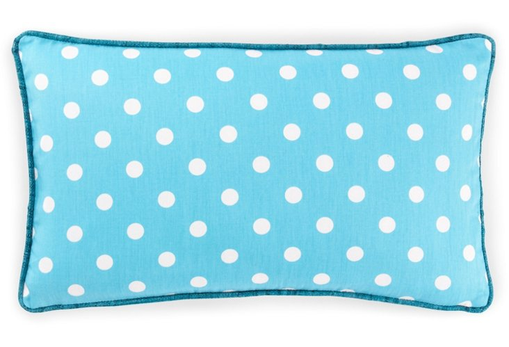 Dot 12x20 Cotton Pillow, Turquoise