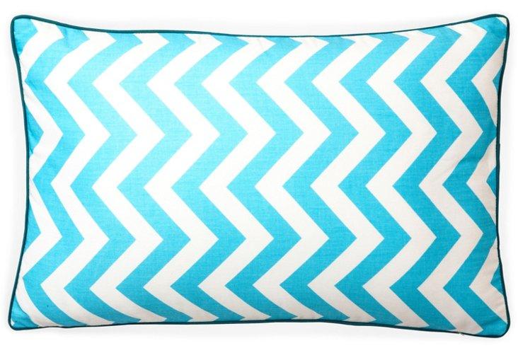 Chevron 12x20 Cotton Pillow, Turquoise