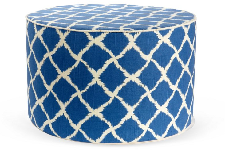 Net Round Pouf, Blue/White