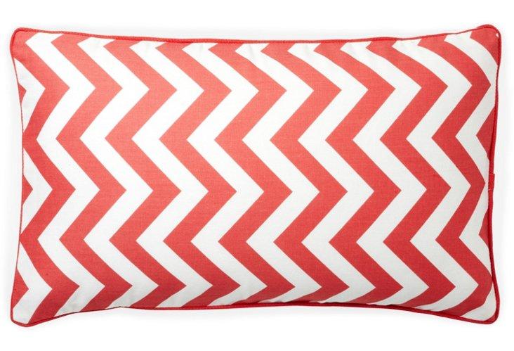 Zigzag 12x20 Cotton Pillow, Peach