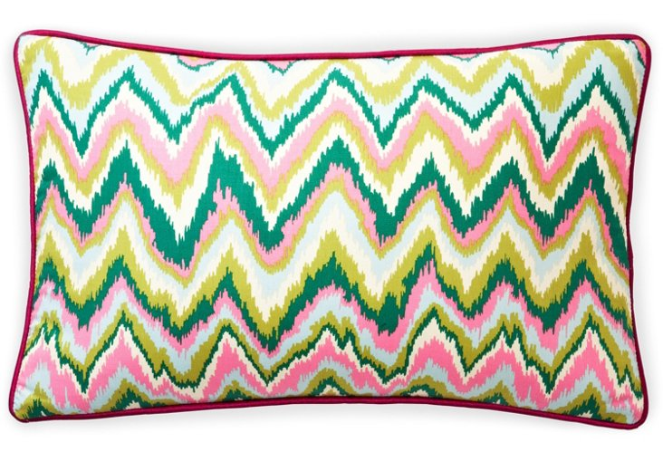 Ikat 12x20 Cotton Pillow, Multi