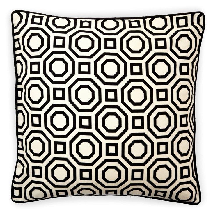 Labyrinth 20x20 Cotton Pillow, Black