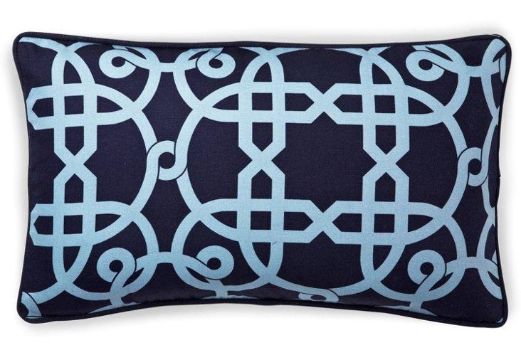 Web 12x20 Cotton Pillow, Blue