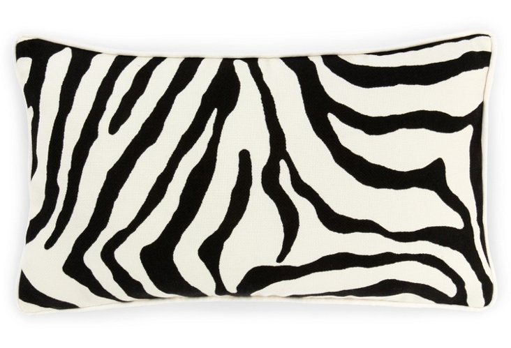 Zebra 12x20 Outdoor Pillow, Black