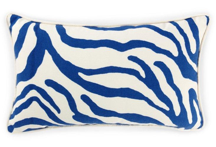 Zebra 12x20 Outdoor Pillow, Blue