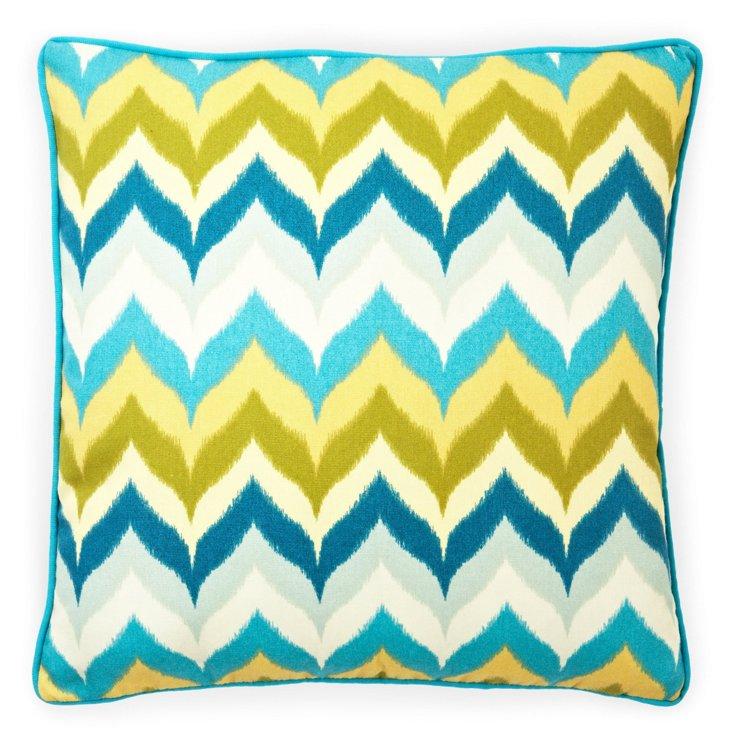 Zigzag 20x20 Outdoor Pillow, Blue