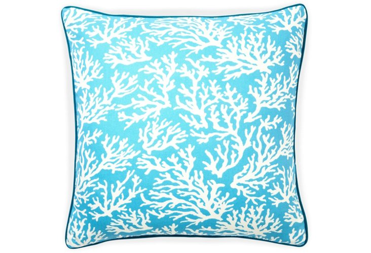 Coral 20x20 Outdoor Pillow, Turquoise