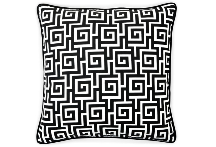 Puzzle 20x20 Outdoor Pillow, Black/White