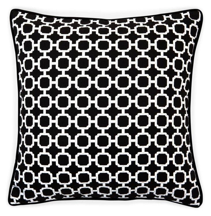 Blocks 20x20 Outdoor Pillow, Black/White