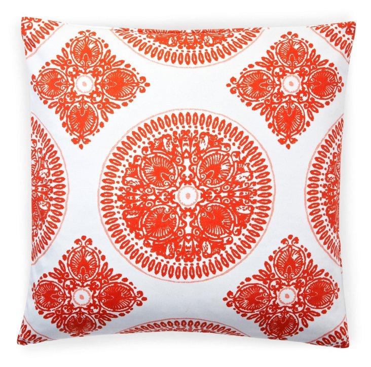 Medallion 20x20 Cotton Pillow, Orange