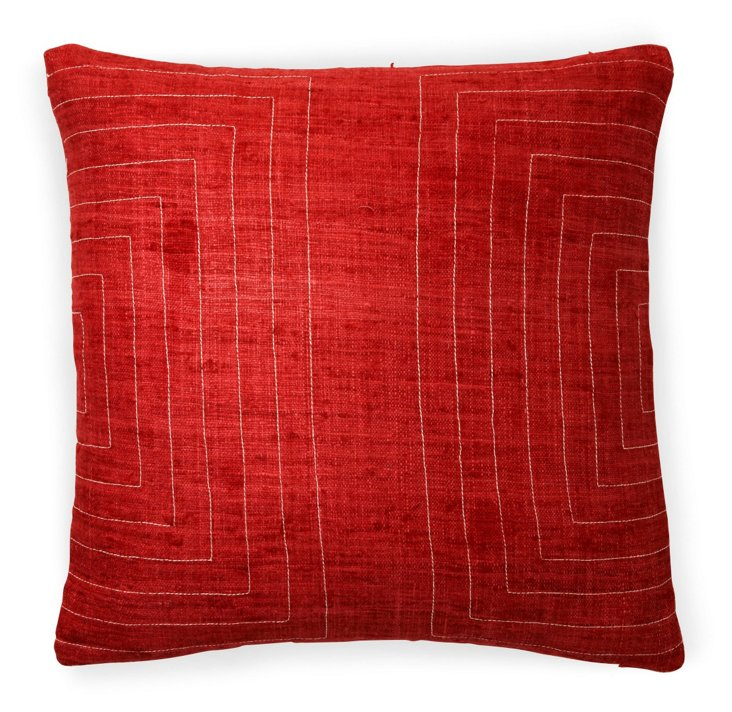 Streams 20x20 Cotton Pillow, Red