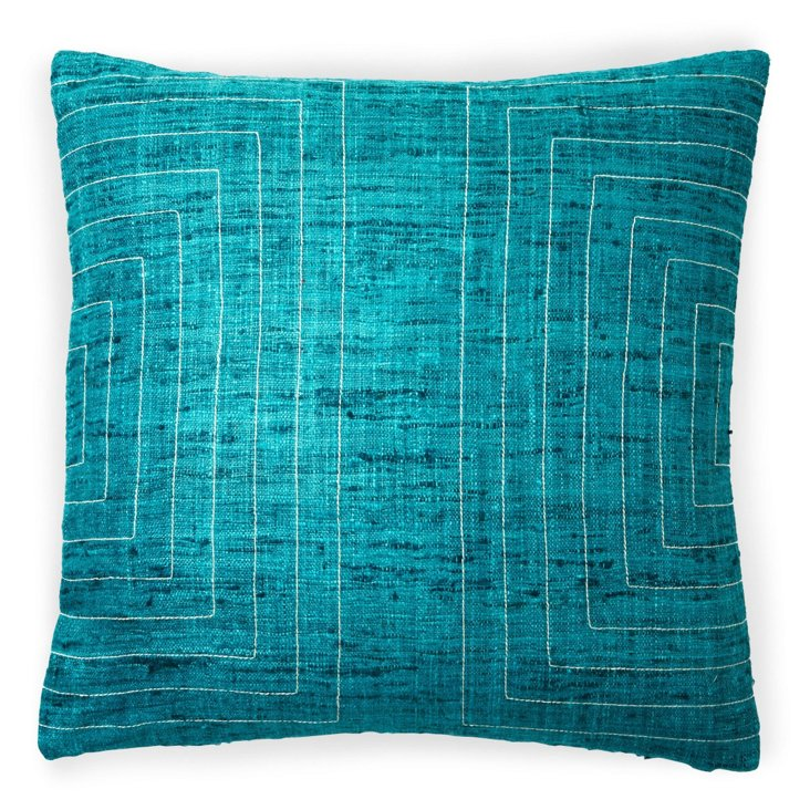 Streams 20x20 Cotton Pillow, Aqua