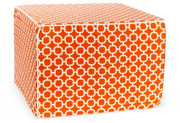 Blocks Outdoor Pouf, Orange