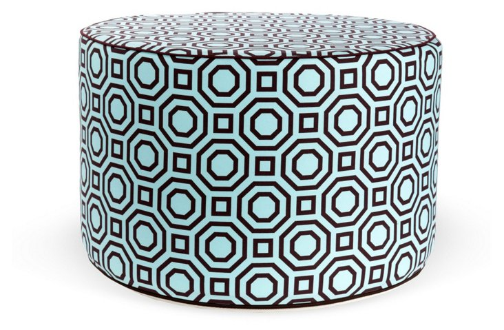Labyrinth Round Pouf, Turquoise/Brown