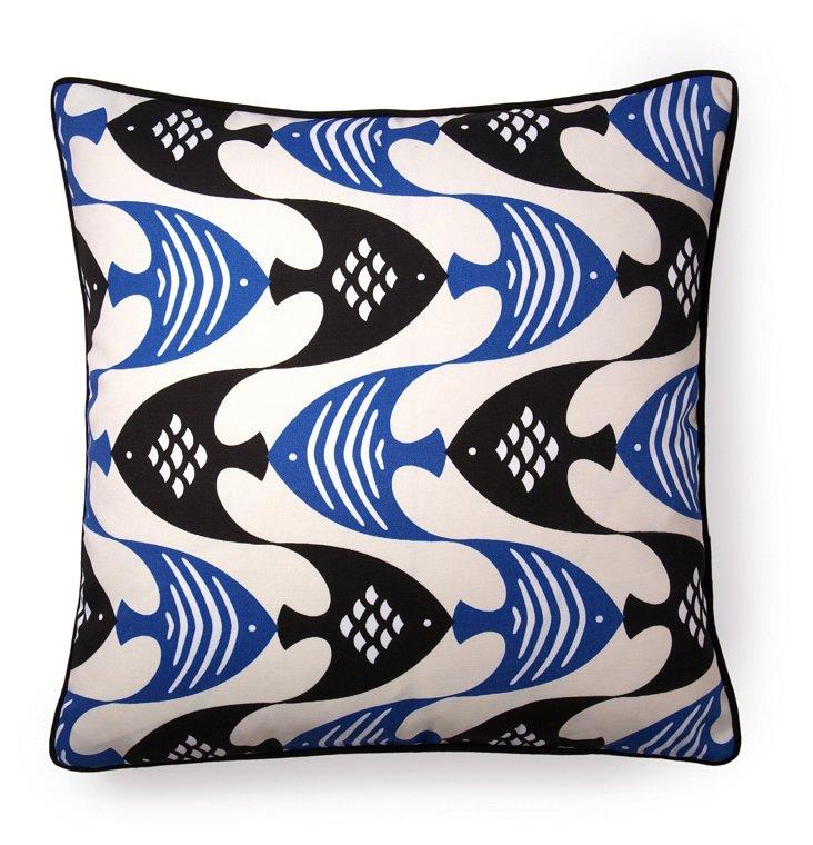 Angel Fish 20x20 Outdoor Pillow, Blue