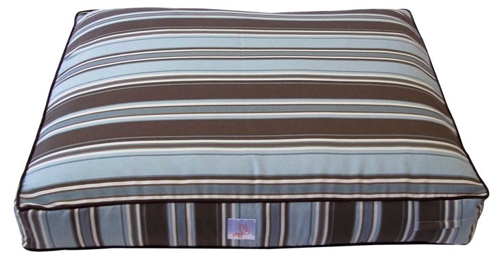 Thickstripes Pet Bed, Spa Blue/Brown