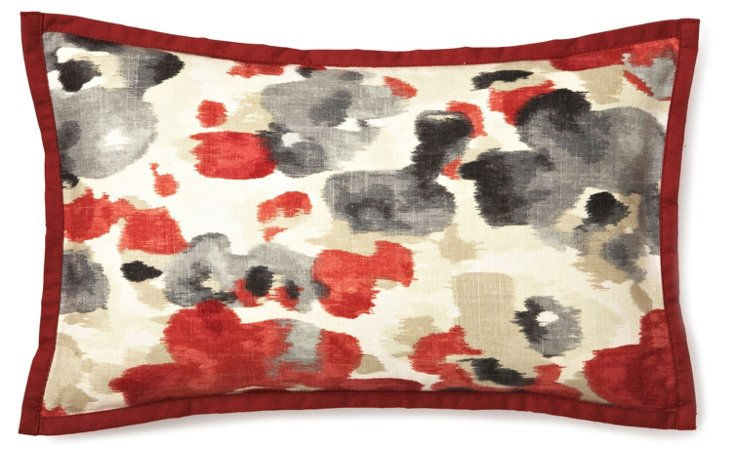 Watercolor 12x20 Linen Pillow, Red