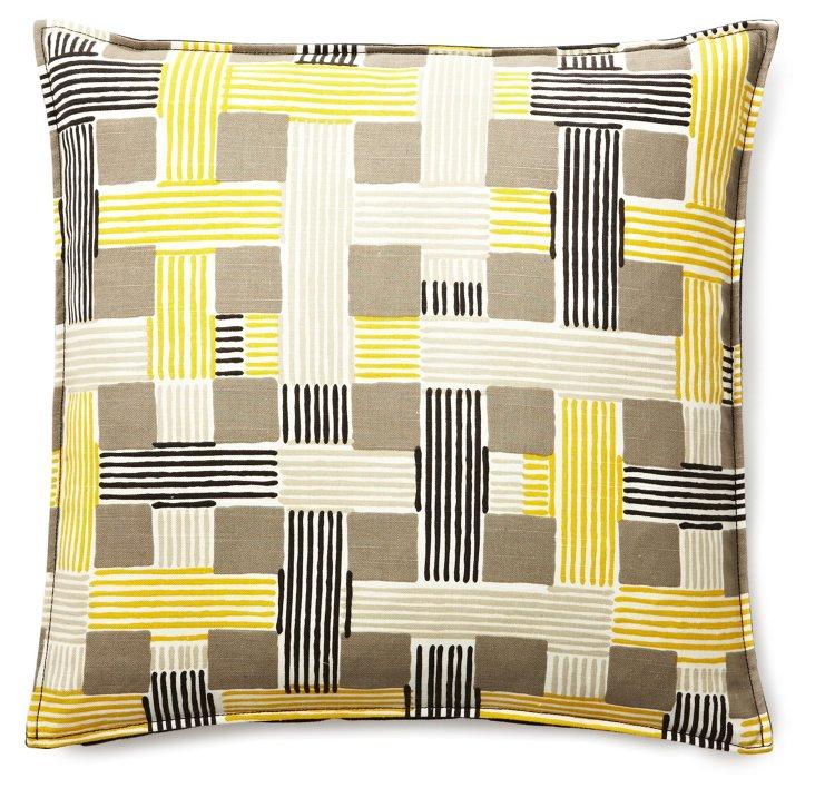 Basketweave 20x20 Linen Pillow, Yellow