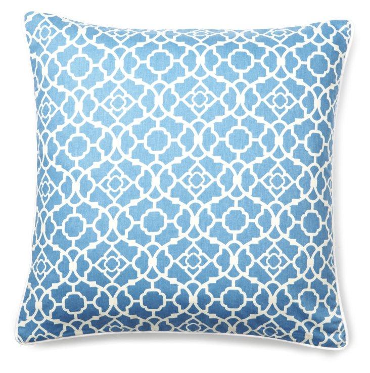 Patterned 20x20 Cotton Pillow, Blue
