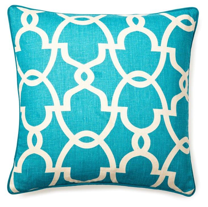 Trellis 20x20 Linen Pillow, Turquoise
