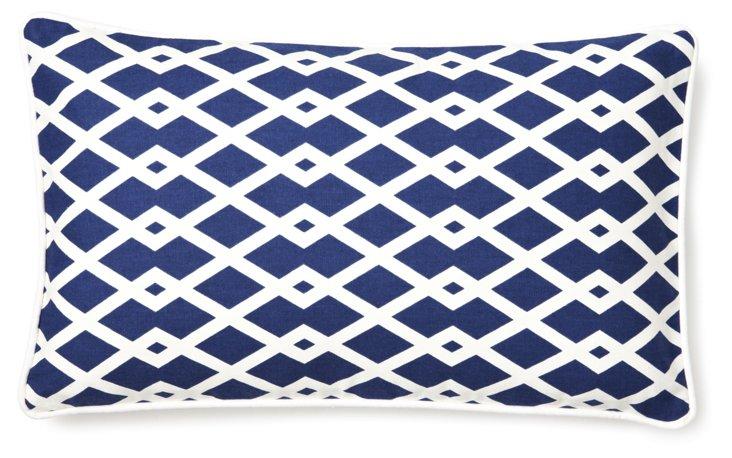 Crisp Trellis 12x20 Pillow, Blue