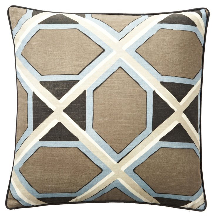 Pathed 24x24 Linen-Blended Pillow, Blue