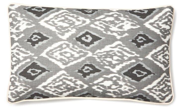 Ikat 12x20 Linen Pillow, Gray