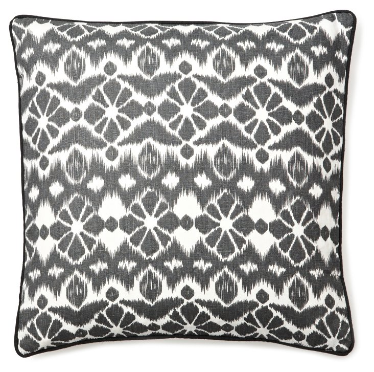 Ikat Suzani 20x20 Linen Pillow, Black