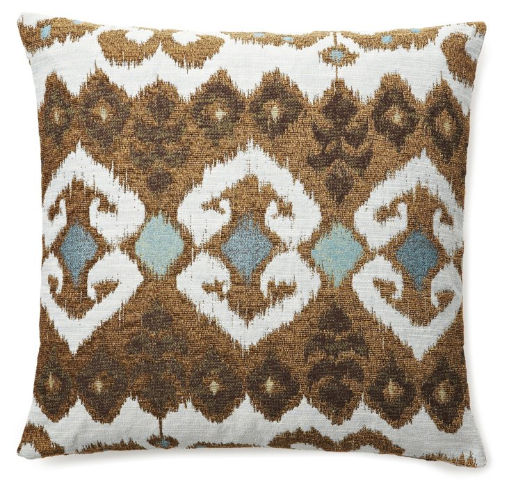Ikat 20x20 Pillow, Aqua