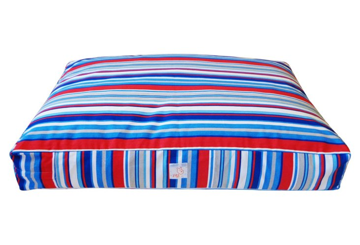Western Stripes Pet Bed, Red/Blue