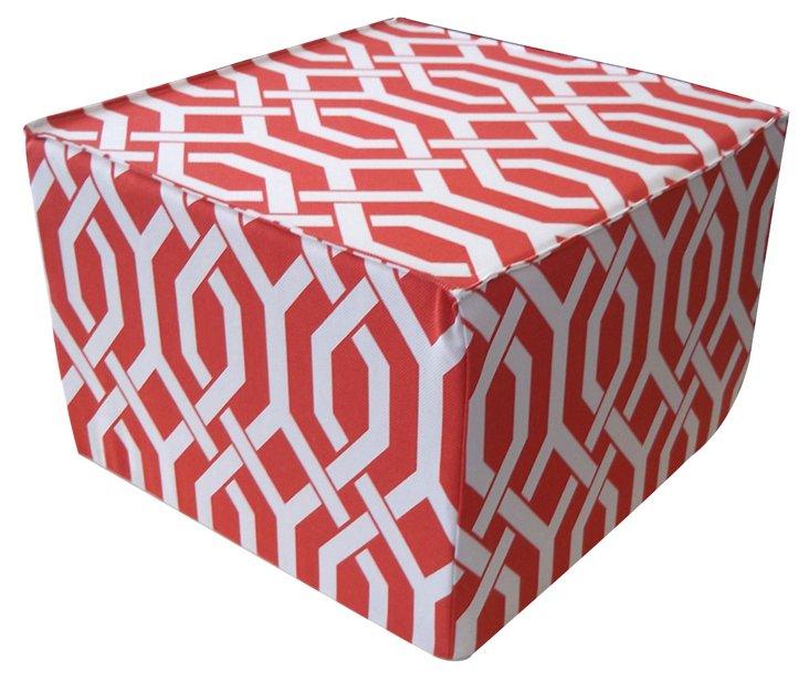 Hexagon Ottoman, Red/White