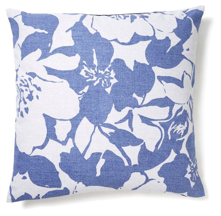Peony 20x20 Cotton Pillow, Indigo