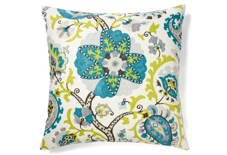 Amapola 26x26 Cotton Pillow, Blue/Green