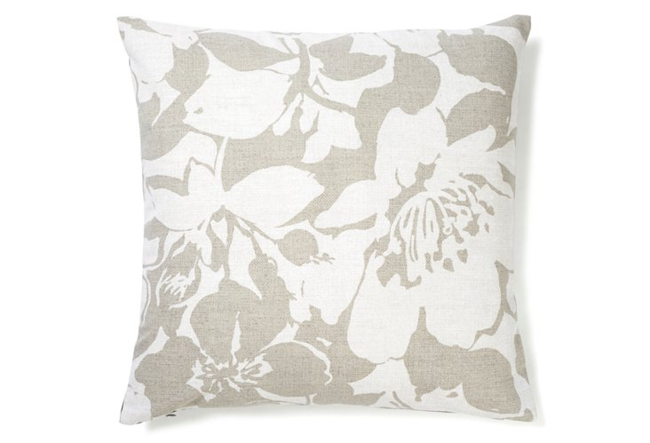 Peony 20x20 Cotton Pillow, Gray