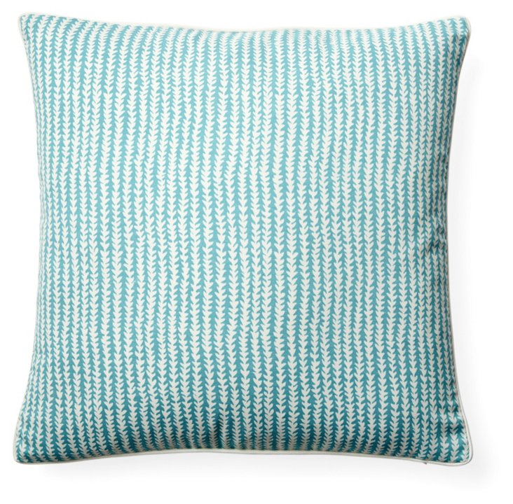 Stitches 20x20 Outdoor Pillow, Aqua