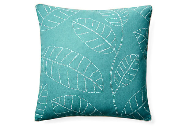 Hojas 20x20 Outdoor Pillow, Blue