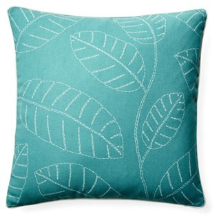 Hojas 20x20 Outdoor Pillow, Blue
