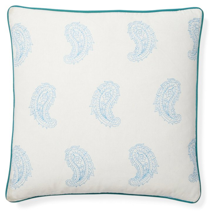 Angela 20x20 Cotton Pillow, Blue