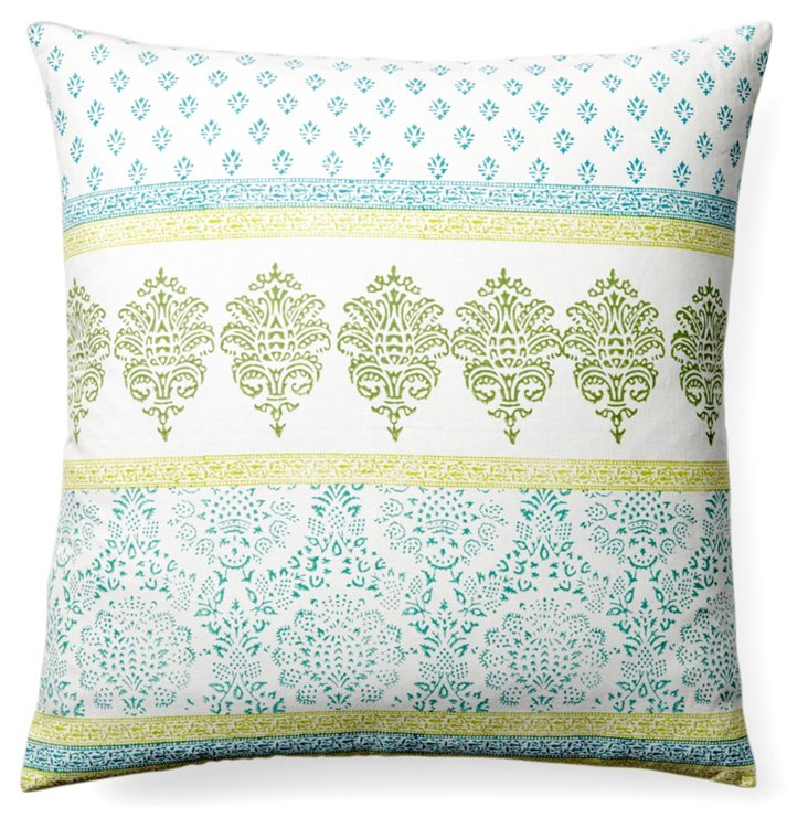 Jai 24x24 Cotton Pillow, Blue
