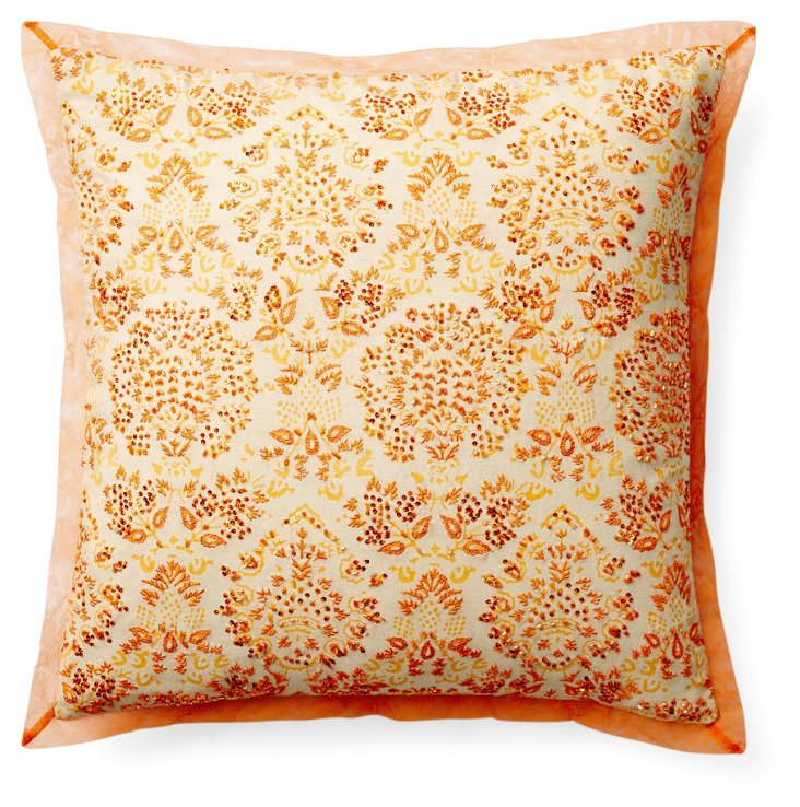Rajesh 16x16 Beaded Pillow, Orange