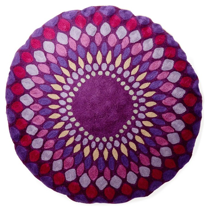 "Lily 24"" Cotton-Blended Pillow, Purple"