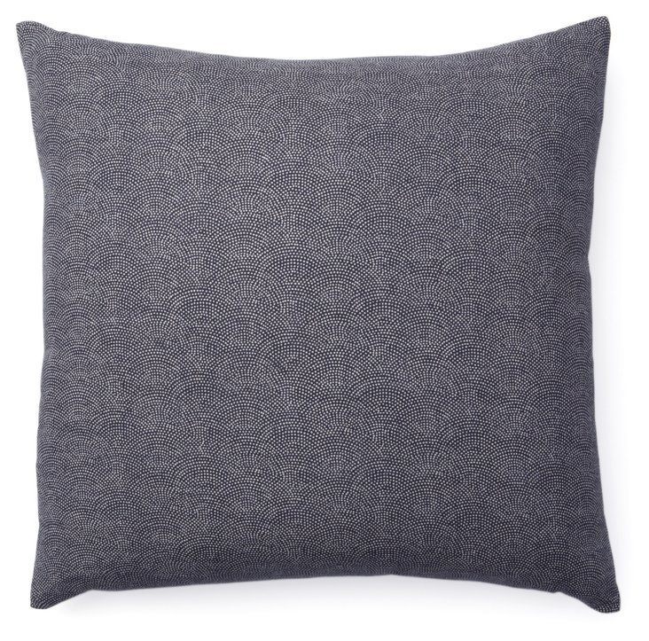 Kio Dots 20x20 Cotton Pillow, Navy