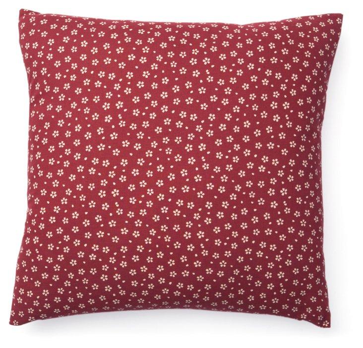 Kio Daisy 20x20 Cotton Pillow, Red