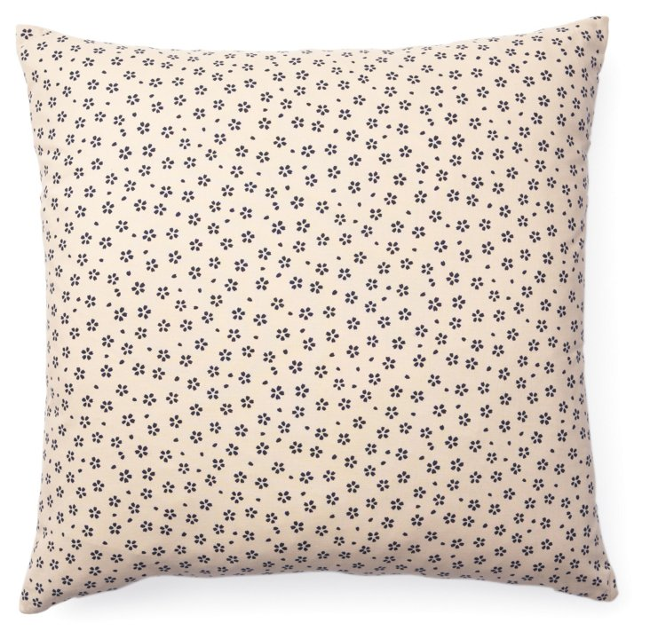 Kio Daisy 20x20 Cotton Pillow, Cream