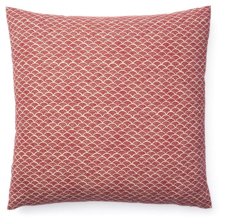 Kio Fan 20x20 Cotton Pillow, Red