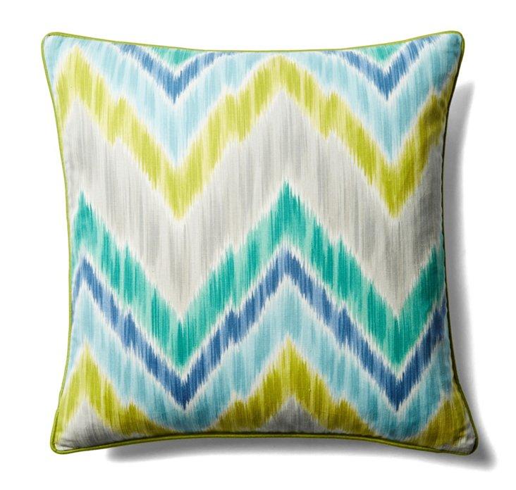 Mountain 20x20 Cotton Pillow, Teal