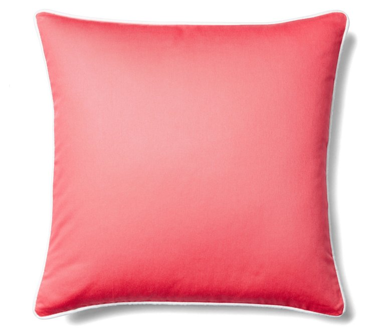 Solid 20x20 Cotton Pillow, Coral