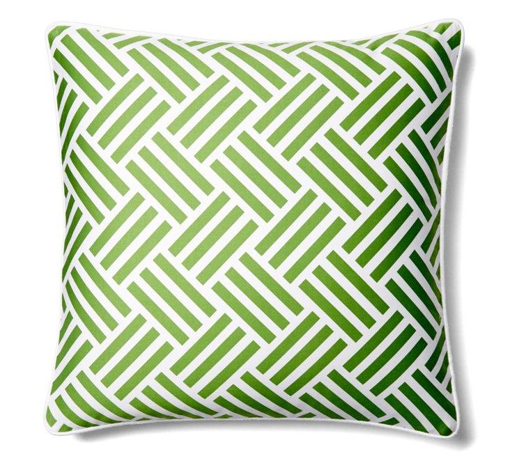 Tribal 20x20 Cotton Pillow, Green